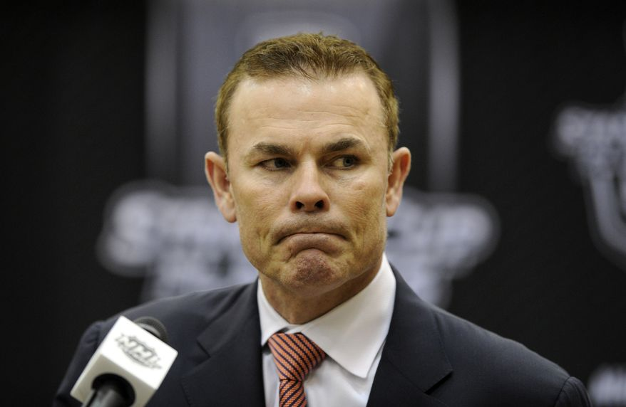 Washington Capitals head coach Adam Oates looks on during a press conference following the Game 7 first-round NHL Stanley Cup playoff hockey series against the New York Rangers, Monday, May 13, 2013, in Washington. The Rangers won 5-0. (AP Photo/Nick Wass)