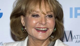 "** FILE ** In this April 23, 2012, file photo, veteran ABC newswoman Barbara Walters arrives to the Matrix Awards in New York. The veteran ABC News anchor is set to announce Monday morning, May 13, 2013, on ""The View"" that she will retire from TV journalism during the summer of 2014. (AP Photo/Charles Sykes, File)"