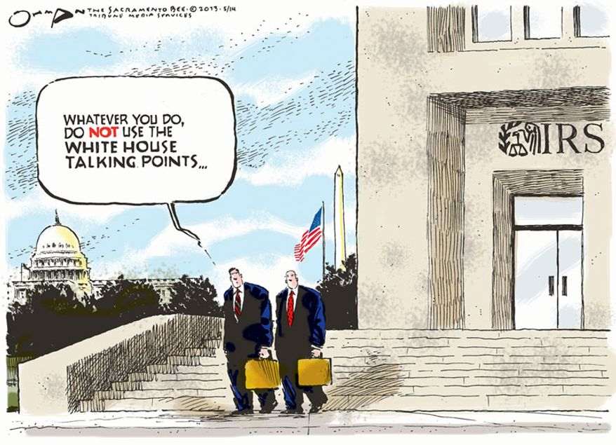 Whatever you do, do not use the White House talking points ... (Illustration by Jack Ohman of the Tribune Media Services)
