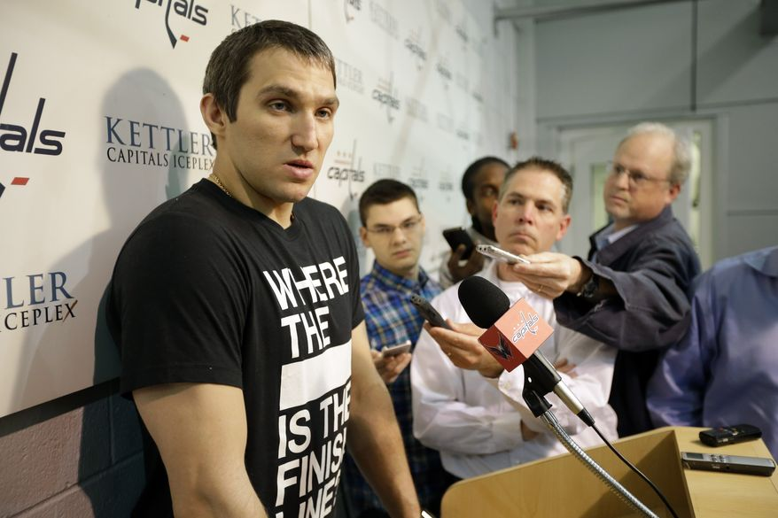 Washington Capitals captain and left wing, Alex Ovechkin, from Russia, speaks during a media availability at their NHL hockey practice facility, Tuesday, May 14, 2013 in Arlington, Va. The Capitals were eliminated in the first round of the playoffs by the New York Rangers.(AP Photo/Alex Brandon)