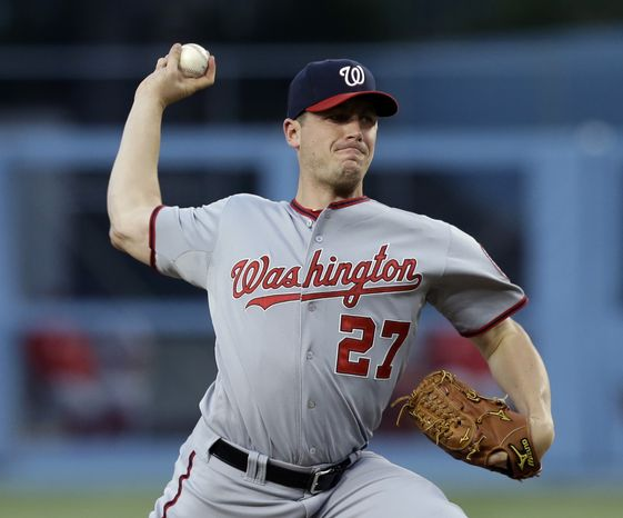 The Nationals beat the Dodgers 6-2 on Monday night, led by another strong start from right-hander Jordan Zimmermann. (Associated Press photo)