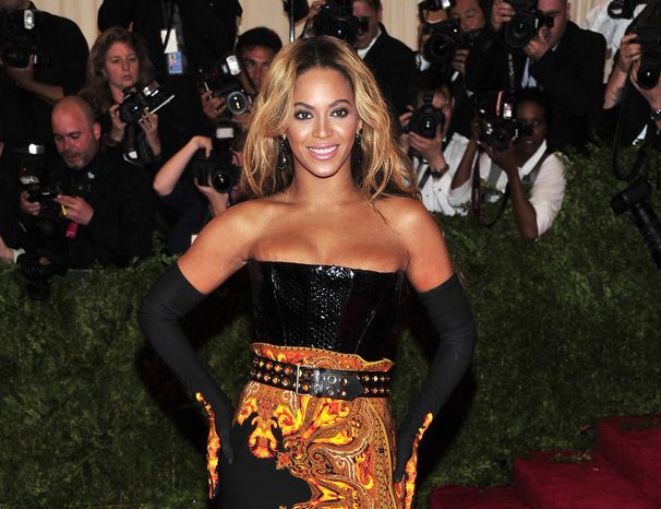 Pop singer Beyonce attends the Metropolitan Museum of Art Costume Institute benefit in New York on Monday, May 6, 2013. (Charles Sykes/Invision/AP)