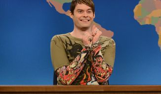 "** FILE ** Bill Hader appears as the character Stefon on ""Saturday Night Live"" on Saturday, March 9, 2013, in New York. (AP Photo/NBC, Dana Edelson)"