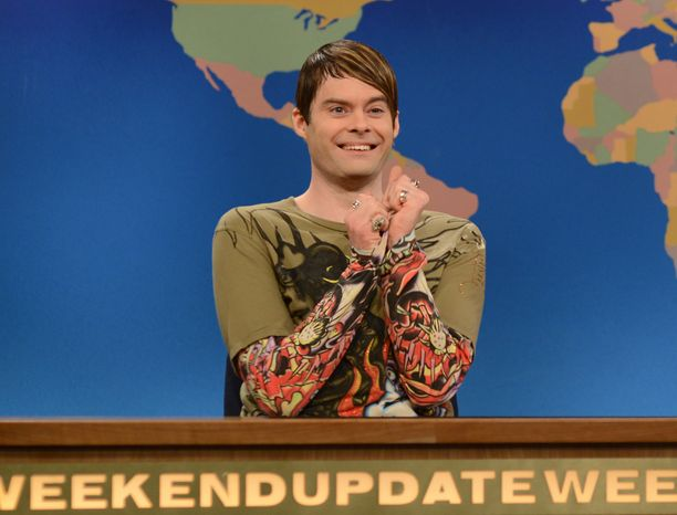 """** FILE ** Bill Hader appears as the character Stefon on """"Saturday Night Live"""" on Saturday, March 9, 2013, in New York. (AP Photo/NBC, Dana Edelson)"""