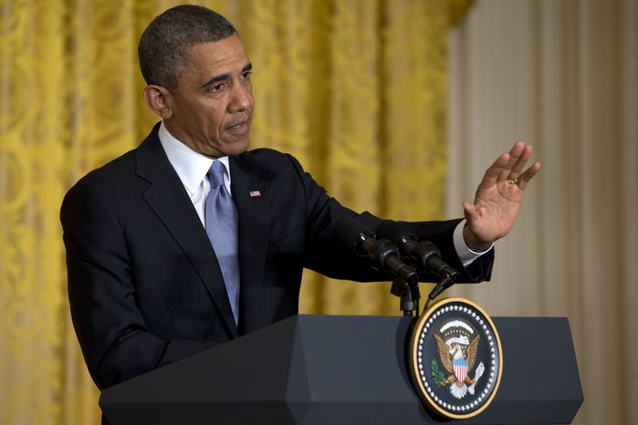 President Obama speaks during a news conference with British Prime Minister David Cameron in the East Room of the White House on May 13, 2013. (Associated Press)