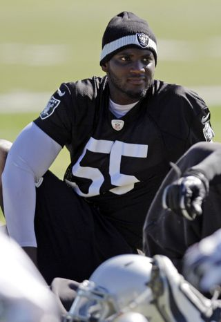 FILE - In this May 22, 2012, file photo, Oakland Raiders linebacker Rolando McClain stretches during NFL football practice in Alameda, Calif. The Raiders waived McClain on Friday, April 5, 2013, less than three years after drafting him eighth overall. (AP Photo/Marcio Jose Sanchez, File)