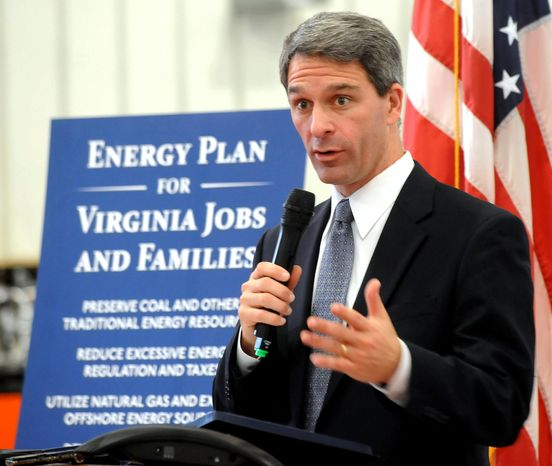 Virginia Attorney General Kenneth T. Cuccinelli II will accept the GOP nomination for governor Saturday. Mr. Cuccinelli has set his own political course, distancing himself from Gov. Bob McDonnell and Lt. Gov. Bill Bolling. (Associated Press)