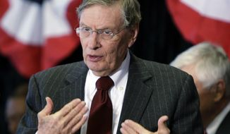 FILE - In this Jan. 23, 2013, file photo, MLB Commissioner Bud Selig speaks at a news conference at Great American Ballpark in Cincinnati. Selig told the Associated Press Sports Editors on Thursday, April 25, that baseball won't change its schedule to boost the sport's chances of getting back into the Olympics. (AP Photo/Al Behrman, File)