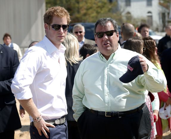 Britain's Prince Harry and N.J. Gov. Chris Christie talk during a visit to the area hit by Superstorm Sandy, Tuesday, May 14, 2013, in Mantoloking, N.J. (AP Photo/The Star-Ledger, Andrew Mills, Pool)