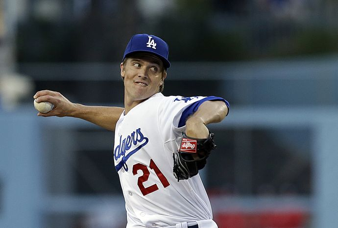 Dodgers pitcher Zack Greinke in a baseball game between the Los Angeles Dodgers and the Washington Nationals in Los Angeles Tuesday, May 14, 2013. (AP Photo/Reed Saxon)