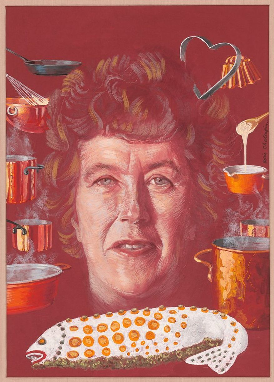 "JULIA CHILD   by Boris Chaliapin   Tempera on board   1966   Image (Verified): 34.3 x 24.8cm (13 1/2 x 9 3/4"")   National Portrait Gallery, Smithsonian Institution; gift of Time Magazine NPG.78.TC303"