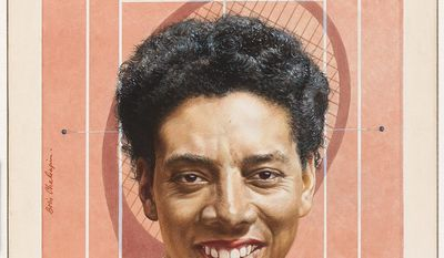 """ALTHEA GIBSON   by Boris Chaliapin   Watercolor and pencil on board   1957   Sight: 62.3 x 46.3 cm (24 1/2 x 18 1/4"""")   Mat: 71.1 x 55.9 cm (28 x 22"""")   National Portrait Gallery, Smithsonian Institution; gift of Time Magazine NPG.78.TC406"""