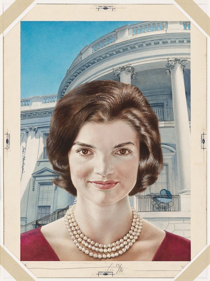 """JACQUELINE KENNEDY by Boris Chaliapin Gouache, watercolor and pencil on board 1960-61 Sight: 44.5 x 31.1 cm (17 1/2 x 12 1/4"""") Mat (Verified): 71.1 x 55.9 cm (28 x 22"""") National Portrait Gallery, Smithsonian Institution; gift of Time magazine NPG.78.TC498"""