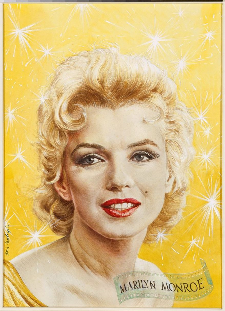 "MARILYN MONROE   by Boris Chaliapin   Gouache and watercolor with graphite pencil on illustration board 1956   Sight (Verified): 51.4 x 38.1 cm (20 1/4 x 15"")   Mat (Verified): 71.1 x 55.9 cm (28 x 22"")   Frame (Verified): 74.6 x 59.1 x 3.2 cm (29 3/8 x 23 1/4 x 1 1/4"")    Estate of Marilyn Monroe, c/o CMG Worldwide, Inc.   National Portrait Gallery, Smithsonian Institution; gift of Time Magazine   NPG.88.TC144"