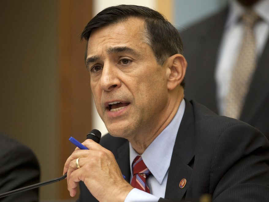 **FILE** House Oversight Committee Chairman Rep. Darrell Issa, California Republican, speaks on Capitol Hill in Washington on May 15, 2013. (Associated Press)