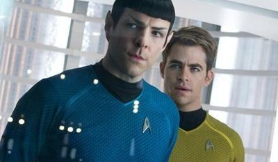 """Zachary Quinto, left, as Spock and Chris Pine as Kirk in a scene from """"Star Trek Into Darkness."""" (AP Photo/Paramount Pictures, Zade Rosenthal)"""