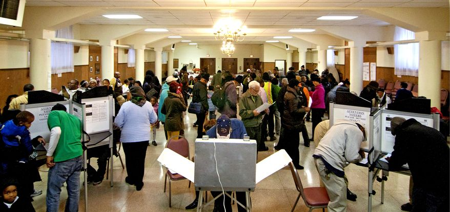 Election Day bought out hordes of voters in Washington, D.C., but dozens of ballots were cast using the names of people who had moved to Prince George's County years ago. (The Washington Times) ** FILE **