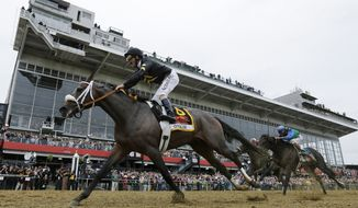 Oxbow, ridden by jockey Gary Stevens, wins the 138th Preakness Stakes horse race at Pimlico Race Course on Saturday, May 18, 2013, in Baltimore. (AP Photo/Matt Slocum)