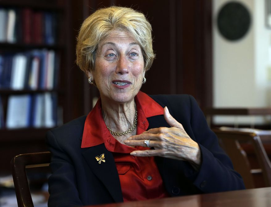 ** FILE ** U.S. District Judge Shira A. Scheindlin is interviewed in her chambers in New York on Friday, May 17, 2013. Judge Scheindlin is presiding over civil rights challenges to the stop-and-frisk practices of the New York Police Department. (AP Photo/Richard Drew)