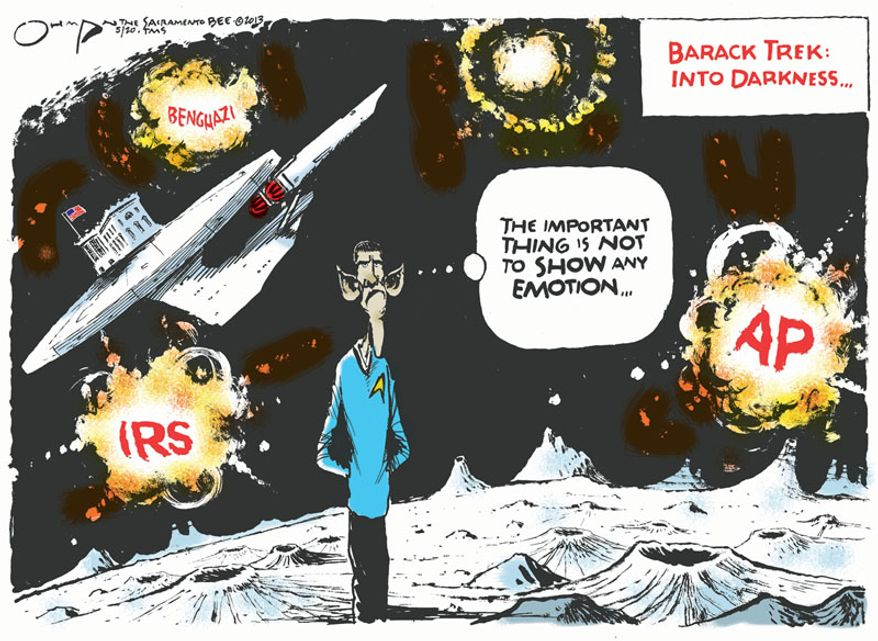 Barack Trek: Into Darkness ... (Illustration by Jack Ohman of the Tribune Media Services)