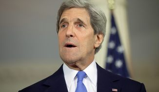 ** FILE ** Secretary of State John Kerry at the State Department in Washington Monday, May 20, 2013. (AP Photo/Evan Vucci)