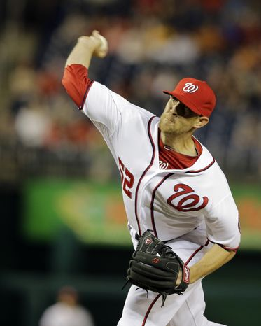 **FILE** Washington Nationals relief pitcher Ryan Mattheus (52) throws during an interleague baseball game against the Chicago White Sox at Nationals Park Thursday, April 11, 2013, in Washington. The Nationals won 7-4, sweeping the Chicago White Sox in the three game series. (AP Photo/Alex Brandon)
