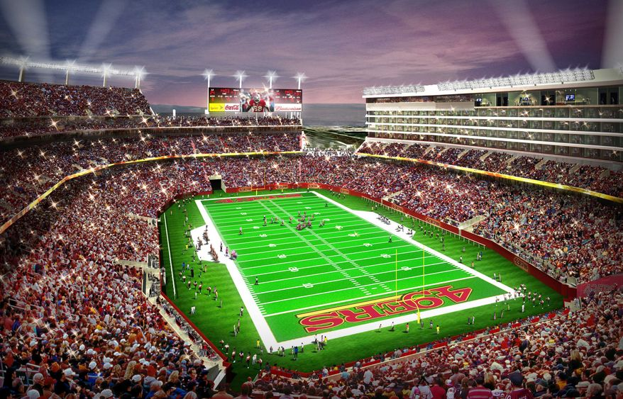 In this artist drawing provided by the San Francisco 49ers, the proposed 49ers stadium in Santa Clara, Calif. is shown. NFL owners will vote on the sites of the 50th and 51st Super Bowls on Tuesday, May 21, 2013 at their spring meetings. The San Francisco area, where the new stadium is being built in Santa Clara, and South Florida are competing for the the 50th edition, to be held in February 2016. The loser in that bidding will go against Houston to host the 51st game the following year.(AP Photo/San Francisco 49ers)