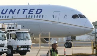** FILE ** A United Airlines Boeing 787 Dreamliner is parked at Narita Airport outside Tokyo on Thursday, Jan. 17, 2013. (AP Photo/Kyodo News)