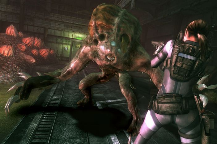 BSAA agent Jill Valentine meets a new mutant called the Wall Blister in the video game Resident Evil Revelations.