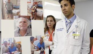Drs. Urmen Desai (right) and Wrood M. Kassira, both plastic surgeons, are shown during a news conference in Miami on May 21, 2013. The the photos on the left are of Ronald Poppo, a homeless man whose face was mostly chewed off in a bizarre attack last year in Miami. The attack left Poppo blind, but the doctors say he's been working with an occupational therapist to learn how to take care of himself. (Associated Press)