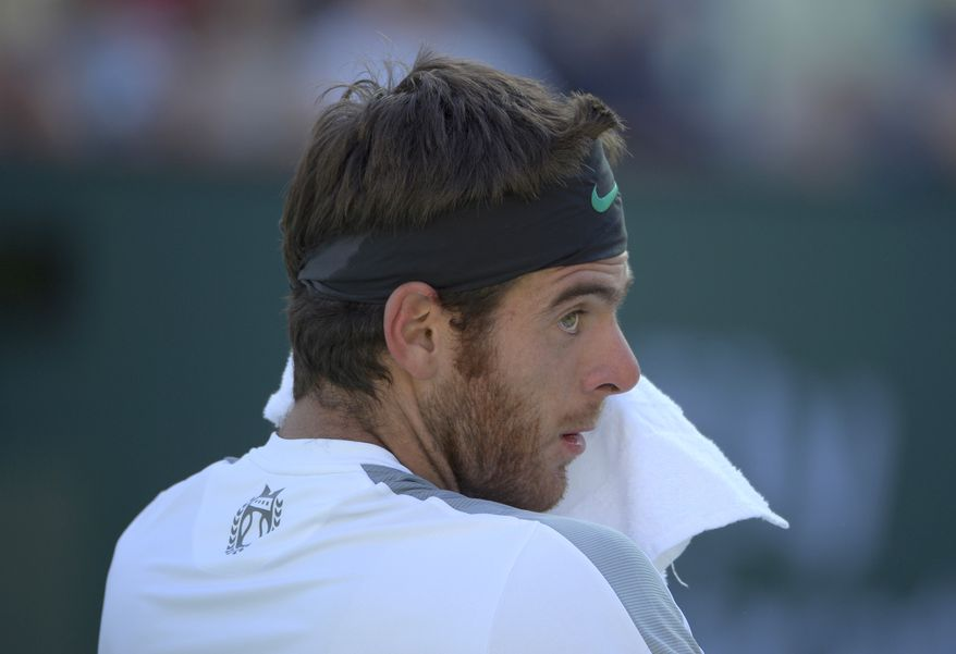 FILE - In this March 17, 2013 file photo, Juan Martin del Potro, of Argentina, looks up as he towels off during his match against Rafael Nadal, of Spain, at the BNP Paribas Open tennis tournament in Indian Wells, Calif. World number seven Del Potro will not be fit to play the upcoming French Open while recovering from a virus.(AP Photo/Mark J. Terrill, File)