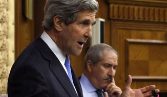 U.S. Secretary of State John F. Kerry gestures during a joint a news conference with Jordanian Foreign Minister Nasser Judeh in Amman, Jordan, on Wednesday, May 22, 2013. (AP Photo/Jim Young, Pool)
