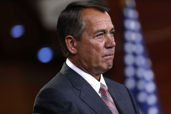 House Speaker John A. Boehner, Ohio Republican, listens to a reporter's question during a news conference on Capitol Hill in Washington on Thursday, May 23, 2013. (Associated Press)