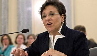 **FILE** Chicago billionaire business executive Penny Pritzker, President Obama's pick for Commerce Secretary, testifies on Capitol Hill in Washington on May 23, 2013, before the Senate Commerce Committee hearing on her nomination. (Associated Press)