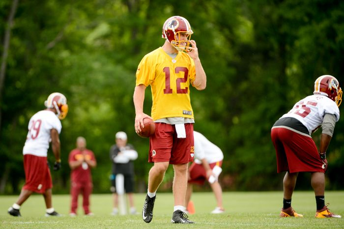 Washington Redskins quarterback Kirk Cousins (12) during organized team activities at Redskins Park, Ashburn, Va., Thursday, May 23, 2013. (Andrew Harnik/The Washington Times)