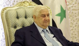 Syrian Foreign Minister Walid al-Moallem said on Sunday, May 26, 2013, during a visit to Baghdad that his government has agreed in principle to take part in an international conference in Geneva next month aimed at ending Syria's civil war. (AP Photo/Hadi Mizban, Pool)