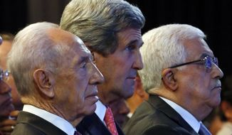 U.S. Secretary of State John F. Kerry (center), Israeli President Shimon Peres (left) and Palestinian President Mahmoud Abbas (right) participate in the World Economic Forum on the Middle East and North Africa at the King Hussein Convention Center at the Dead Sea in Jordan on Sunday, May 26, 2013. (AP Photo/Jim Young, Pool)