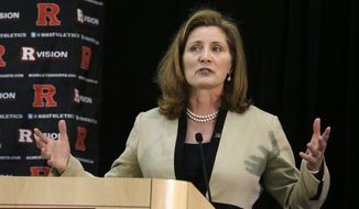 Julie Hermann speaks on Wednesday, May 15, 2013, during a news conference at which she was introduced as the new athletic director at Rutgers University in Piscataway, N.J. (AP Photo/Mel Evans)