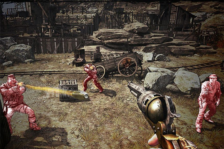 Use Concentration to shoot multiple bad guys in a slow motion moment in the first person shooter Call of Juarez: Gunslinger.