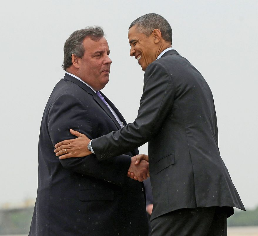** FILE ** New Jersey Gov. Chris Christie shakes hands with President Obama. (Associated Press)