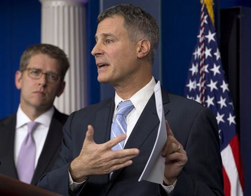** FILE ** Alan Krueger, Chairman of the White House Council of Economic Advisers, speaks to the media about middle class tax cuts and spending during a White House news briefing in Washington, Nov. 26, 2012. (Associated Press)