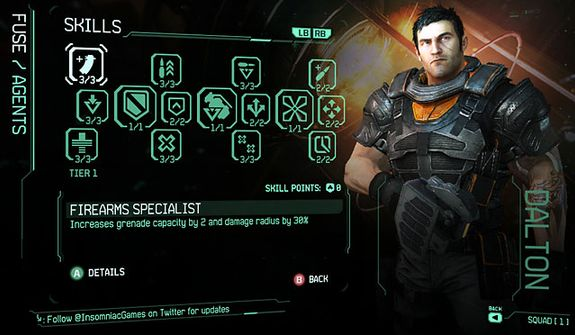 The skill tree for agent Dalton Brooks from the video game Fuse.