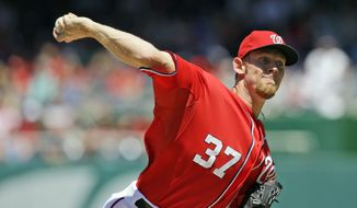 Washington Nationals starting pitcher Stephen Strasburg (37) throws during a baseball game against the Philadelphia Phillies at Nationals Park Sunday, May 26, 2013, in Washington. (AP Photo/Alex Brandon)