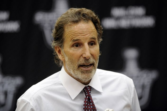 FILE - In this May 13, 2013 file photo, New York Rangers head coach John Tortorella talks to the media during a press conference following the Game 7 first-round NHL Stanley Cup playoff hockey series against the Washington Capitals in Washington. The Rangers have fired coach Tortorella, Wednesday, May 29, 2013, four days after New York was eliminated from the Stanley Cup playoffs. (AP Photo/Nick Wass, File)