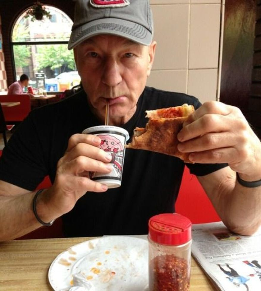 """""""My first ever pizza 'slice'. Please note: the authentic NY fold,"""" Patrick Stewart tweeted on Thursday, May 30, 2013. (Image: Twitter)"""
