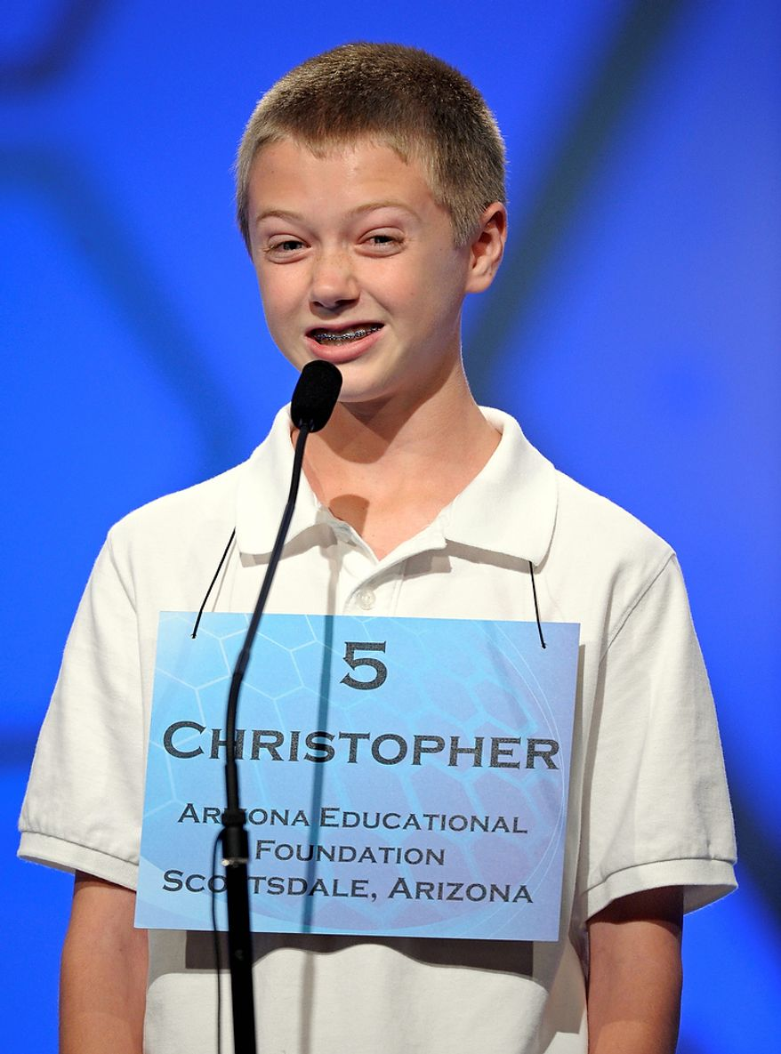 """Christopher O'Connor, 13, of Tucson, Arizona incorrectly spells """"pultaceous"""" during the semi-final round of the Scripps National Spelling Bee in Oxon Hill, Md., Thursday, May 30, 2013. (AP Photo/Cliff Owen)"""