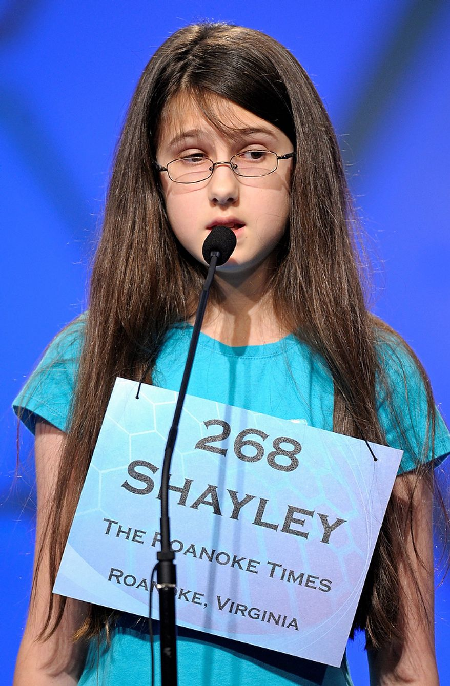"""Shayley Martin, 12, of Riner, Va., incorrectly spells """"sussultatory"""" during the semifinal round of the Scripps National Spelling Bee in Oxon Hill, Md., Thursday, May 30, 2013. (AP Photo/Cliff Owen)"""