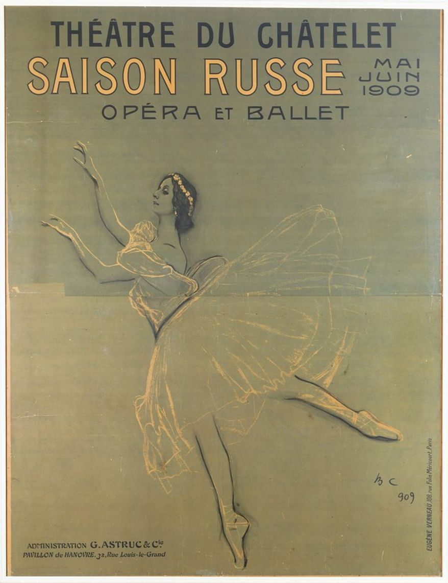 File Name: 3413-011.jpg   Valentin Serov   Anna Pavlova from Les Sylphides, poster for the first Russian season, 1909   color lithograph   framed: 256.2 x 201.5 cm (100 7/8 x 79 5/16 in.)   V&A, London