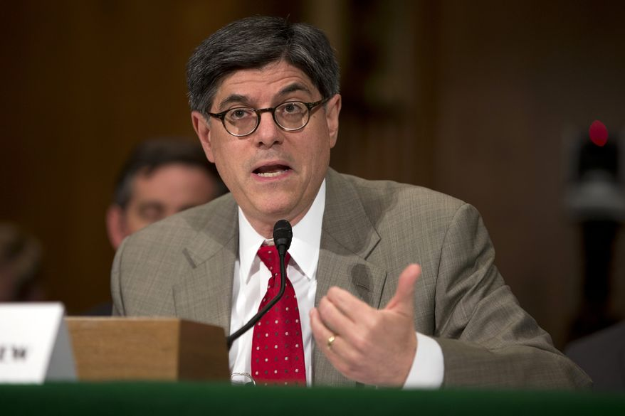 ** FILE ** Treasury Secretary Jack Lew testifies before the Senate Banking Committee on Capitol Hill in Washington on Tuesday, May 21, 2013. (Associated Press)