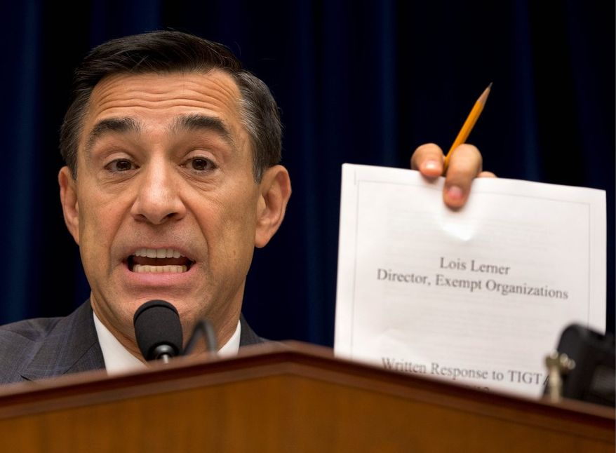 """Rep. Darrell E. Issa said uneven scrutiny by the IRS was """"a problem that was coordinated in all likelihood right out of Washington headquarters."""" (Associated Press photographs)"""